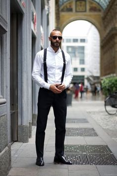 Handsome Men Looks with Suspenders. men's fashion and style