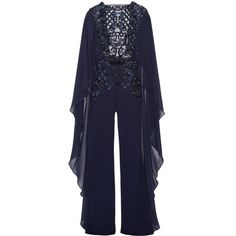 Zuhair Murad Open-back embellished tulle, chiffon and silk-blend crepe... ($7,435) ❤ liked on Polyvore featuring jumpsuits, navy, sequin jumpsuit, beaded jumpsuit, open back jumpsuit, zuhair murad and crepe jumpsuit