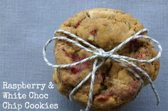 White Choc Chip Cookies with a touch of raspberries! Delicious and easy to make.