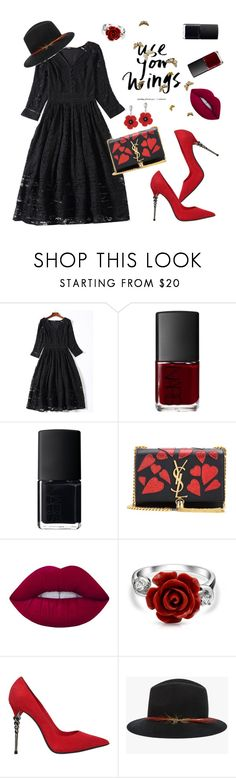 """""""Today's outfit idea"""" by metisu-fashion ❤ liked on Polyvore featuring NARS Cosmetics, Yves Saint Laurent, Lime Crime, Bling Jewelry, Le Silla, Janessa Leone, black, dress, Spring2017 and metisu"""