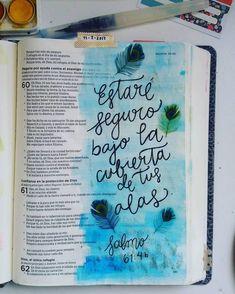 "454 Me gusta, 3 comentarios - Diario Bíblico (@diariobiblico) en Instagram: ""Salmos 61:4b #MiDiarioBíblico #BibliadeApuntes"" Bible Words, My Bible, Bible Art, Bible Verses Quotes, Bible Scriptures, Cute Bibles, Bible Guide, Scripture Doodle, Bible Doodling"