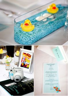 Easy centerpiece idea: small dish filled with water marbles, water, and a rubber duck. I have the marbles.