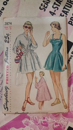 Simplicity 2874 1940s 40s Swimsuit Bathing by EleanorMeriwether
