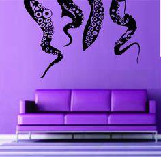 Octopus Kraken Tentacles Wall Vinyl Decal Sticker Decals Nautical Ocean