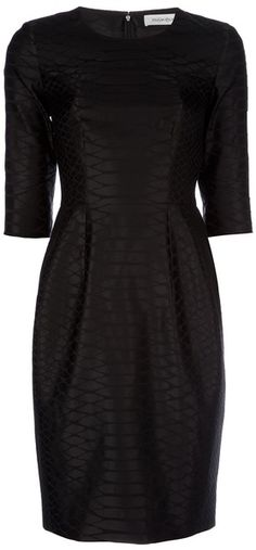 Yves Saint Laurent Black Sheath Dress.    Black wool and silk blend dress from Yves Saint Laurent featuring a lizard pattern, a round neck, 3/4-length sleeves, a fitted waist with pintucks and a zip at the back.