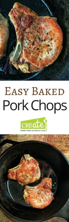 Easy Baked Pork Chops are the simplest way to guarantee juicy chops every time.  Find out the 3 steps that will fix dried out pork forever.  A healthy dinner meal made from scratch in no time at all.  @http://www.pinterest.com/createkidsclub