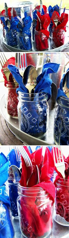 Patriotic Bandana Mason Jars ~ Everyone will have their own jar with a red, white or blue bandana napkin and silverware. Then they can fill up their mason jar with iced tea or lemonade. Perfect for Memorial Day and the of July! 4th Of July Celebration, 4th Of July Party, Fourth Of July, Ideias Diy, 4th Of July Decorations, Patriotic Party, July Crafts, Happy 4 Of July, Deco Table