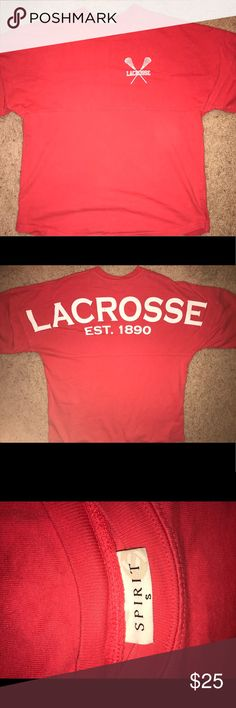 Lacrosse Spirit Jersey Coral Lacrosse Spirit Jersey. Worn a few times, still in great condition with no stains or marks. Asking it because it doesn't fit anymore! Tops Tees - Long Sleeve