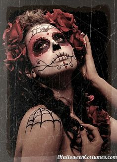 Day of the Dead make up idea for Halloween. Both Ant and I are going to do this. Sugar Skull Face, Sugar Skull Makeup, Sugar Skulls, Sugar Skull Halloween Costume, Halloween Make Up, Halloween Ideas, Halloween Costumes, Halloween 2013, Halloween Fashion