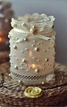 Shabby Chic Home Decor Mason Jar Projects, Mason Jar Crafts, Mason Jar Diy, Bottle Crafts, Bottles And Jars, Glass Jars, Candle Jars, Diy And Crafts, Arts And Crafts