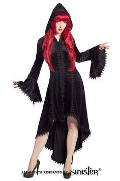 Lilianne Velvet Fishtail Hooded Coat by Sinister
