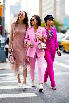 Team Pink sept17 SS18 On the street at New York Fashion Week. Photo: Imaxtree