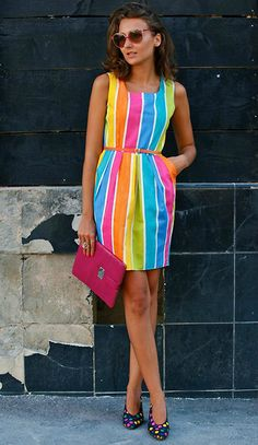 This is the dress that the Caterpillar will wear. It is bright and colorful. The… This is the dress that the Caterpillar will wear. It is bright and colorful. The stripes represent the sections of the Caterpillar's body. Rainbow Outfit, Rainbow Fashion, Colorful Fashion, Rainbow Clothes, Xl Fashion, Vintage Fashion, Fashion Outfits, Xl Mode, Summer Outfits