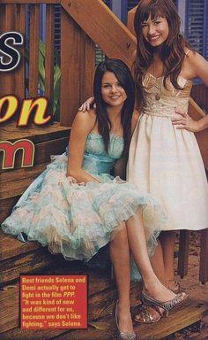Selena Gomez and Demi Lovato on the set of Princess Protection Program.