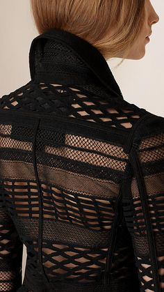 Black Japanese Woven Mesh Panelled Trench Coat - Image 5