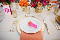 Modern Pink And Gold Place Setting