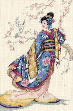 Patrones de punto de cruz Geisha