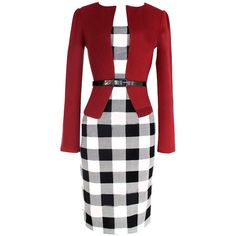 Red Trendy Womens False Two Piece Plaid Long Sleeve Dress ($31) ❤ liked on Polyvore featuring dresses, red, red long sleeve dress, tartan plaid dress, red day dress, longsleeve dress and long sleeve plaid dress