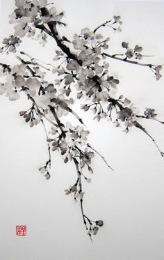 "Ella Saridi Japanese Ink Painting on Rice Paper, 13x20 inch,Suibokuga,Sumi-e Black and White, ""Sakura2"""