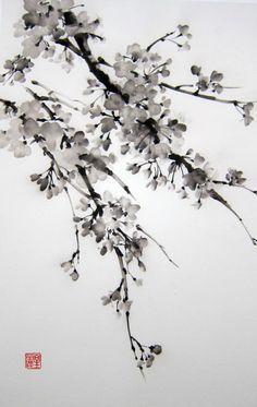 "Ella Saridi Japanese Ink Painting on Rice Paper, 13x20 inch,Suibokuga,Sumi-e Black and White, ""Sakura2"""