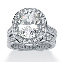 Platinum over Sterling Silver Oval-Cut and Round DiamonUltra™ Cubic Zirconia Eternity Wedding Ring Set at PalmBeach