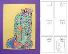 Laurel Birch Cats....draw abstract cats w/ lines/patterns & color