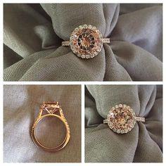 Halo Setting for Round Morganite Morganite Engagement, Halo Engagement Rings, Rose Gold Morganite Ring, Halo Setting, Pink Gemstones, White Gold, Color Stone, Diamond, Lisa