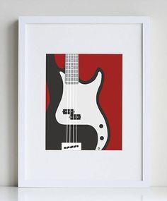 Bass guitar art print, music wall art, cool art for boys, cool art prints, minimalist art Music Painting, Guitar Painting, Guitar Art, Guitar Room, Guitar Tips, Painting Art, Metal Wall Decor, Metal Wall Art, Music Bedroom