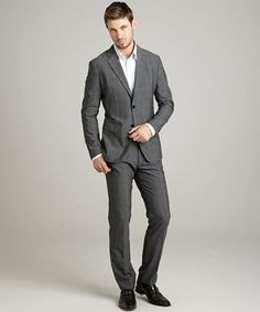 Theory light charcoal plaid wool 'Dilano M Legacy' 2-button suit with flat front pants | BLUEFLY up to 70% off designer brands