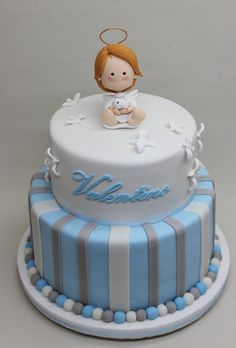For boys christening Fondant Cakes, Cupcake Cakes, Cupcakes, Christening Cake Boy, Religious Cakes, First Communion Cakes, Confirmation Cakes, Angel Cake, Novelty Cakes