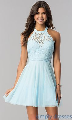 30dbe5fbdf Lace-Bodice Homecoming Short Halter Party Dress