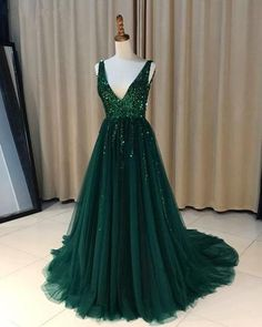 Emerald Green Sequins Beaded V-neck Tulle Open Back Evening Dresses 2018 New Arrivals Prom Dresses H0107