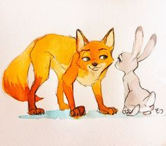 "mattnyc816: "" koraru-san: "" jamesed97: "" zootopiafanarts: ""Fox and Rabbit, by monmokamoko Source: http://ift.tt/2rWzyed "" Role play? "" so lovely! "" Feral Nick and Judy nice!! """