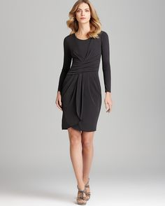 Armani Collezioni Matte Jersey Dress - Long Sleeve with Ruched Waist   Bloomingdale's love it http://www.TeamPegine.com