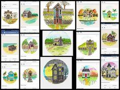 All my Miniature Lone Houses scanned! Wohoo. #painting #painting #watercolorpainting #watercolorart #watercolor #minipainting #mini #tiny #tinyhouse #miniature #house #lonehouse #drawing #art_empire #art_collective #artist by ileamatthews