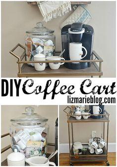 Wish I had a place for something like this! So cute.  DIY coffee cart - lizmarieblog.com