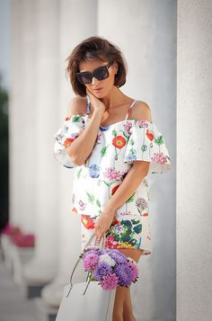 floral prints in summer street style ideas | re:named off the shoulder top
