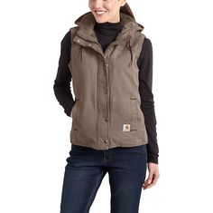 This sandstone Berkley vest provides workwear comfort and durability. It features 12-ounce, 100% cotton sandstone duck, Sherpa lining, and a Sherpa-lined three-piece hood. The drop tails adds coverage