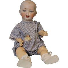 "20"" antique Hertel Schwab 151 solid dome doll 5 pc slant hip toddler from turnofthecenturyantiques on Ruby Lane"