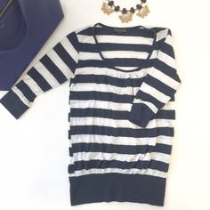 Forever 21 blue and white stripped top Has some pulling. Cuffs at the bottom Forever 21 Tops Tees - Short Sleeve