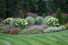 Annabelle and grasses, nice combination - gartengestaltung Outdoor Landscaping, Front Yard Landscaping, Landscaping Ideas, Formal Gardens, Outdoor Gardens, Garden Beds, Garden Cottage, Landscape Design, Garden Design