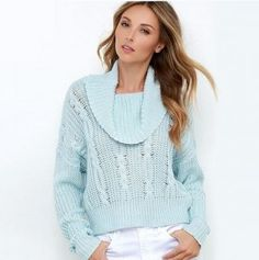 blue cable knit sweater for women cowl neck sweater winter wear