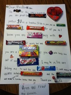 valentine cards candy