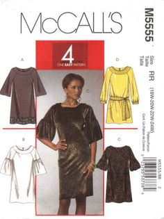 McCall's Sewing Pattern 5555 Womans Plus Size 18W-24W Easy Pullover Straight Dresses  --  Need a different size or pattern? Check out our store www.MoonwishesSewingandCrafts.com for 8000+ uncut sewing patterns all sizes and styles!