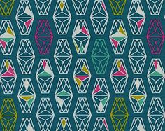 Cotton + Steel Lively Lanterns in Teal by Rashida Coleman-Hale Modern Quilt Fabric Geometric Fabric Lagoon Collection Teal and Neon Pink