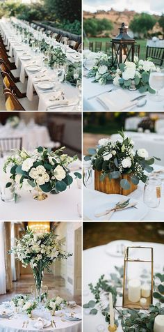 elegant white and greenery wedding centerpieces ideas