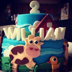 decorated farm animal birthday cake