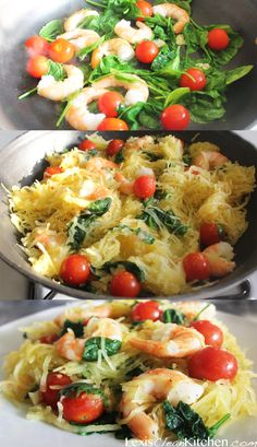 Try using local arugula & beefsteak tomatoes instead of spinach & cherry tomatoes for this Spaghetti Squash Primavera from Lexiscleankitchen. Seafood Recipes, Paleo Recipes, Cooking Recipes, Healthy Cooking, Healthy Eating, Courge Spaghetti, Spaghetti Squash Recipes, Squash Pasta, Spaghetti Squash With Shrimp