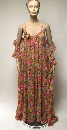 Excited to share this item from my shop  Floral Nightgown Robe Sheer Nylon  Leonora Peignoir Set Maxi Full Length Gown Size M Vintage Dress Lingerie 7b27fc21a