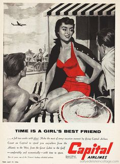 """Travel on Capital Airlines  """"time is a girl's best friend"""""""